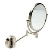 ALFI brand 8'' Round Wall Mounted 5X Magnify Cosmetic Mirror in Brushed Nickel, 9-7/8'' Diameter x 10-1/4'' D x 12-1/8'' H