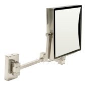ALFI brand 8'' Square Wall Mounted 5X Magnify Cosmetic Mirror in Brushed Nickel, 8'' W x 17-1/8'' D x 12-7/8'' H