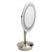 ALFI brand Tabletop Round 9'' 5X Magnifying Cosmetic Mirror with Light in Brushed Nickel, 9'' Diameter x 14-1/4'' H