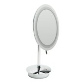 ALFI brand Tabletop Round 9'' 5X Magnifying Cosmetic Mirror with Light in Polished Chrome, 9'' Diameter x 14-1/4'' H
