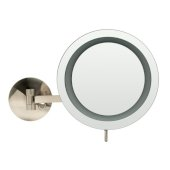 ALFI brand Wall Mount Round 9'' 5X Magnifying Cosmetic Mirror with Light in Brushed Nickel, 9'' Diameter x 15-1/2'' D