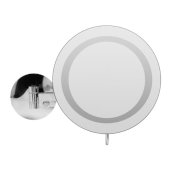 ALFI brand Wall Mount Round 9'' 5X Magnifying Cosmetic Mirror with Light in Polished Chrome, 9'' Diameter x 15-1/2'' D