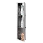 ALFI brand 8'' x 36'' Vertical Triple Shelf Bath Shower Niche in Polished Stainless Steel, 8'' W x 4'' D x 36'' H