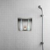 ALFI brand 12'' x 12'' Square Single Shelf Bath Shower Niche in Polished Stainless Steel, 12'' W x 4'' D x 12'' H