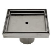 5'' x 5'' Modern Square Stainless Steel Shower Drain w/o Cover, 5-1/4'' W x 5-1/4'' D x 3-1/4'' H