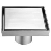 5'' x 5'' Modern Square Stainless Steel Shower Drain with Solid Cover, 5-1/4'' W x 5-1/4'' D x 3-1/4'' H