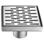 5'' x 5'' Modern Square Stainless Steel Shower Drain with Groove Holes, 5-1/4'' W x 5-1/4'' D x 3-1/4'' H