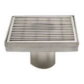 5'' x 5'' Square Stainless Steel Shower Drain with Groove Lines, 5-1/4'' W x 5-1/4'' D x 3-1/4'' H
