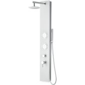 ALFI brand Glass Shower Panel with 2 Body Sprays and Rain Shower Head in White, 8-5/8'' W x 20-1/8'' D x 59'' H
