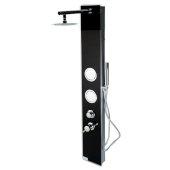 ALFI brand Glass Shower Panel with 2 Body Sprays and Rain Shower Head in Black, 8-5/8'' W x 20-1/8'' D x 59'' H