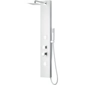 ALFI brand Aluminum Shower Panel with 2 Body Sprays and Rain Shower Head in White, 8-5/8'' W x 20-3/4'' D x 51-1/8'' H