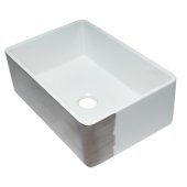 ALFI brand 30'' Reversible Single Fireclay Farmhouse Kitchen Sink in Smooth Titanium/Fluted, 29-3/4'' W x 20-1/8'' D x 9-7/8'' H