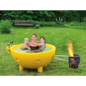 Yellow FireHotTub The Round Fire Burning Portable Outdoor Hot Bath Tub, 63'' Diameter x 32-5/16'' H