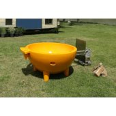 Orange FireHotTub The Round Fire Burning Portable Outdoor Hot Bath Tub, 63'' Diameter x 32-5/16'' H