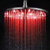 Brushed Nickel 12'' Round Multi Color LED Rain Shower Head, 11-3/4'' Diameter x 3/8'' H