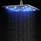 Brushed Nickel 12'' Square Multi Color LED Rain Shower Head, 11-3/4'' W x 11-3/4'' D x 3/8'' H