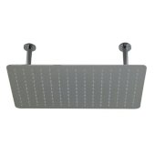 20'' Rectangular Polished Solid Stainless Steel Ultra Thin Rain Shower Head, 20'' W x 12'' D x 1/8'' H