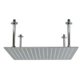 20'' Square Polished Solid Stainless Steel Ultra Thin Rain Shower Head, 20'' W x 20'' D x 1/8'' H