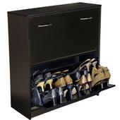 Double Shoe Cabinet, 30'' W x 11-1/2'' x  34'' H, Black