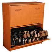 Double Shoe Cabinet, 30'' W x 11-1/2'' x  34'' H, Cherry
