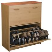 Double Shoe Cabinet, 30'' W x 11-1/2'' x  34'' H, Oak