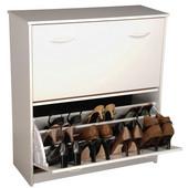 Double Shoe Cabinet, 30'' W x 11-1/2'' x  34'' H, White