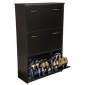 Triple Shoe Cabinet, 30'' W x 11-1/2'' D x  48'' H, Black