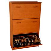 Triple Shoe Cabinet, 30'' W x 11-1/2'' D x  48'' H, Cherry