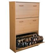 Triple Shoe Cabinet, 30'' W x 11-1/2'' D x  48'' H, Oak