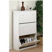 Triple Shoe Cabinet, 30'' W x 11-1/2'' D x  48'' H, White