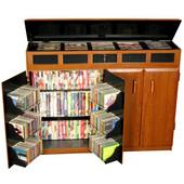 Top Load Media Cabinet, Black/Cherry