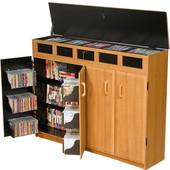 Top Load Media Cabinet, Black/Oak