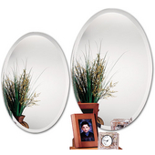 Frameless Oval Bathroom Mirror, 19-11/16''W x 31-1/2''H