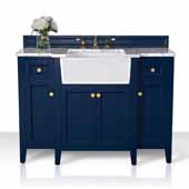 Adeline 48'' Bath Vanity in Heritage Blue with Italian Carrara White Marble Vanity Top and White Undermount Farmhouse Basin with Gold Hardware, 48''W x 20-1/8''D x 34-5/8''H