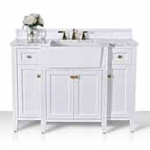 Adeline 48'' Bath Vanity in White with Italian Carrara White Marble Vanity Top and White Undermount Farmhouse Basin with Gold Hardware, 48''W x 20-1/8''D x 34-5/8''H