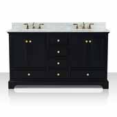 Audrey 60'' Double Sink Bath Vanity in Onyx Black with Italian Carrara White Marble Vanity top and (2) White Undermount Basins with Gold Hardware, 60''W x 22''D x 34-1/2''H