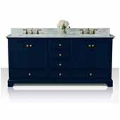 Audrey 72'' Double Sink Bath Vanity in Heritage Blue with Italian Carrara White Marble Vanity top and (2) White Undermount Basins with Gold Hardware, 72''W x 22''D x 34-1/2''H