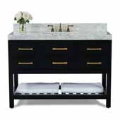 Elizabeth 48'' Bath Vanity in Black Onyx with Italian Carrara White Marble Vanity top and White Undermount Basin with Gold Hardware, 48''W x 22''D x 34-1/2''H