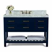 Elizabeth 48'' Bath Vanity in Heritage Blue with Italian Carrara White Marble Vanity top and White Undermount Basin with Gold Hardware, 48''W x 22''D x 34-1/2''H