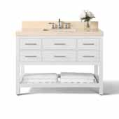 Elizabeth 48'' Bath Vanity in White with Natural Marble Vanity Top in Galala Beige and White Undermount Basin, 48''W x 22''D x 34-1/2''H