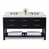Elizabeth 60'' Double Sink Bath Vanity in Black Onyx with Italian Carrara White Marble Vanity top and (2) White Undermount Basins with Gold Hardware, 60''W x 22�D x 34-1/2''H