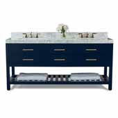 Elizabeth 72'' Double Sink Bath Vanity in Heritage Blue with Italian Carrara White Marble Vanity top and (2) White Undermount Basins with Gold Hardware, 72''W x 22''D x 34-1/2''H