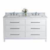 Ellie 60'' Double Sink Bath Vanity in White with Italian Cararra White Marble Vanity Top and (2) White Undermount Basins, 60''W x 22''D x 34-1/2''H