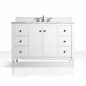Kayleigh 48'' Bath Vanity in White with Italian Carrara White Marble Vanity top and White Undermount Basin, 48''W x 22''D x 34-1/2''H