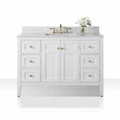Maili 48'' Bath Vanity in White, Italian Carrara White Marble Vanity top and White Undermount Basin with Gold Hardware, 48''W x 22''D x 34-1/2''H