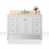 Maili 48'' Bath Vanity in White with Natural Marble Vanity Top in Galala Beige and White Undermount Basin, 48''W x 22''D x 34-1/2''H