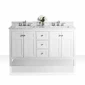 Maili 60'' Double Sink Bath Vanity in White, Italian Carrara White Marble Vanity top and (2) White Undermount Basins, 60''W x 22''D x 34-1/2''H