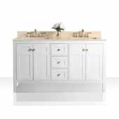 Maili 60'' Double Sink Bath Vanity in White with Natural Marble Vanity Top in Galala Beige and (2) White Undermount Basins with Gold Finish Hardware, 60''W x 22''D x 34-1/2''H