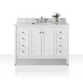 Shelton 48'' Bath Vanity in White with Italian Carrara White Marble Vanity top and White Undermount Basin, 48''W x 22''D x 34-1/2''H