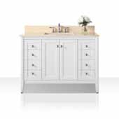 Shelton 48'' Bath Vanity in White with Natural Marble Vanity Top in Galala Beige and White Undermount Basin, 48''W x 22''D x 34-1/2''H